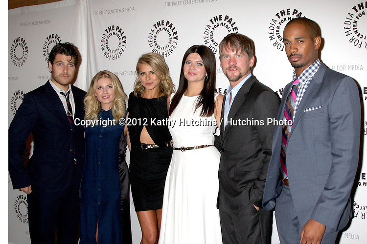 """LOS ANGELES - OCT 16:  Adam Pally, Elisha Cuthbert, Eliza Coupe, Casey Wilson, Zachary Knighton, and Damon Wayans Jr arrives at  An Evening With """"Happy Endings"""" And """"Don't Trust The B---- In Apartment 23"""" at Paley Center For Media on October 16, 2012 in Beverly Hills, CA"""