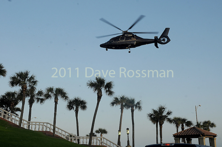 "Tilman Fertitta's helicopter carrying Jason Derulo lands before at the San Luis Salute ""Space Pirates"" VIP reception Friday February 24,2017. (Dave Rossman Photo)"