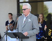 NWA Democrat-Gazette/ANDY SHUPE<br /> Martin Schoppmeyer Jr., superintendent and founder of Haas Hall Academy, speaks Tuesday, Sept. 22, 2015, during a dedication ceremony for the Haas Hall Academy Starr Scholar Center in Fayetteville. The newly renovated facility is located at 380 N. Front Street and is named in honor of Billie Jo Starr and her family.