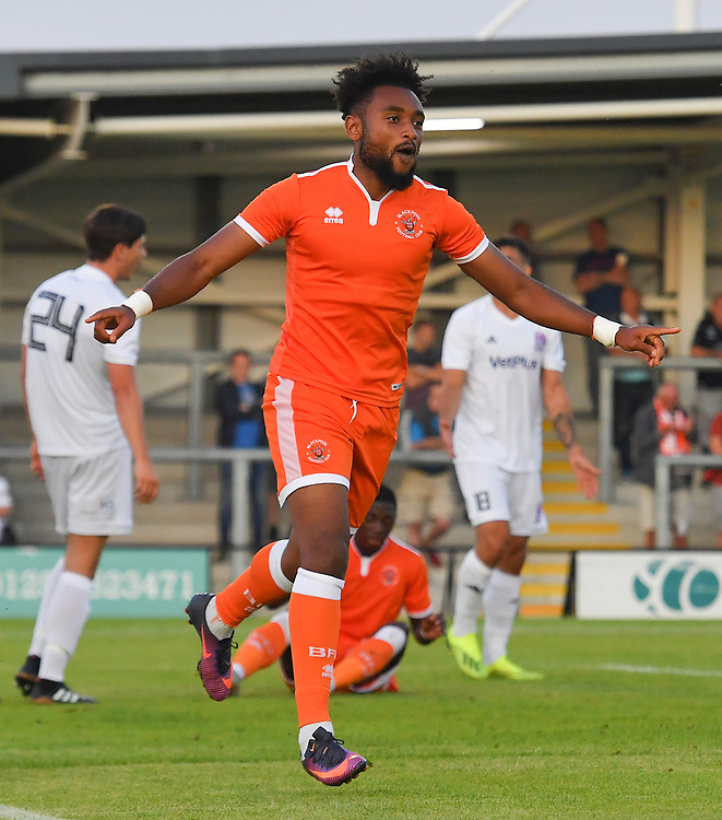 Blackpool's Adi Yussuf celebrates scoring his team's 2nd goal<br /> <br /> Photographer Dave Howarth/CameraSport<br /> <br /> Football Pre-Season Friendly - AFC Fylde v Blackpool - Tuesday July 16th 2019 - Mill Farm - Fylde<br /> <br /> World Copyright © 2019 CameraSport. All rights reserved. 43 Linden Ave. Countesthorpe. Leicester. England. LE8 5PG - Tel: +44 (0) 116 277 4147 - admin@camerasport.com - www.camerasport.com