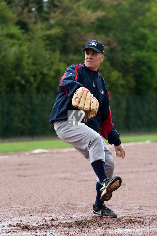 29 April 2009: MLB representative is seen during the first of six 2009 MLB European Academy Try-out Sessions throughout Europe, at Stade Pierre Rolland, in Rouen, France. Try-out sessions are run by members of the Major League Baseball Scouting Bureau with assistance from MLBI staff.
