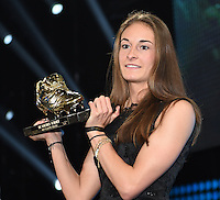 20170208 – LINT ,  BELGIUM : Winner of the Female Golden Shoe 2017 TESSA WULLAERT pictured during the  63nd men edition of the Golden Shoe award ceremony and 1st Women's edition, Wednesday 8 February 2017, in Lint AED studio. The Golden Shoe (Gouden Schoen / Soulier d'Or) is an award for the best soccer player of the Belgian Jupiler Pro League championship during the year 2016. The female edition is a first in Belgium.  PHOTO DIRK VUYLSTEKE | Sportpix.be
