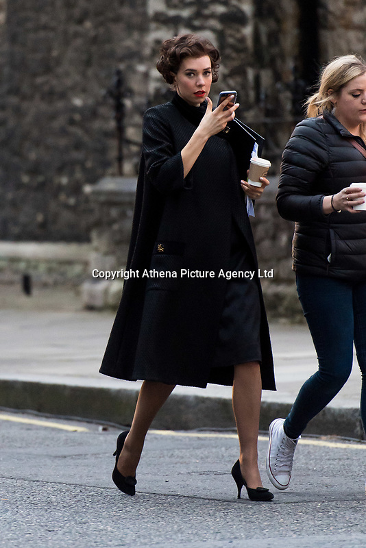 Pictured: Vanessa Kirby is spotted filming season 2 on St George's Drive in Pimlico, London, during the filming of television series The Crown.