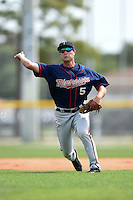 Minnesota Twins Pat Kelly (5) during practice before a minor league spring training game against the Baltimore Orioles on March 28, 2015 at the Buck O'Neil Complex in Sarasota, Florida.  (Mike Janes/Four Seam Images)