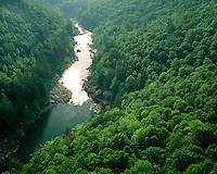 Sunset light on the Big South Fork River viewed from East Rim Overlook; Big South Fork National River and Recreation Area, TN