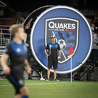 SAN JOSE, CA - AUGUST 25: San Jose Earthquakes Drum pitchside at Avaya Stadium. during a game between Vancouver Whitecaps FC and San Jose Earthquakes at Avaya Stadium on August 24, 2019 in San Jose, California.