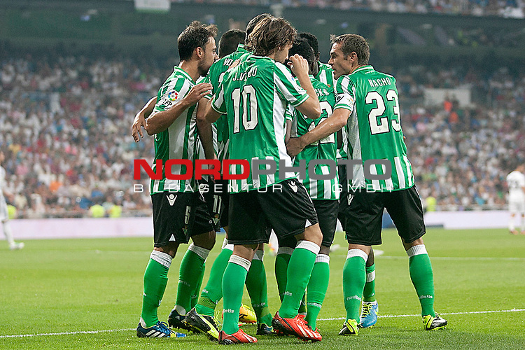 Betis' players celebrate goal during La Liga match.August 18,2013. Foto © nph / Acero)