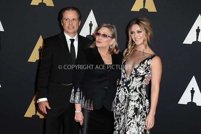 WWW.ACEPIXS.COM<br /> <br /> November 14 2015, LA<br /> <br /> Todd Fisher Carrie Fisher, Billie Catherine Lourd arriving at the Academy of Motion Picture Arts and Sciences' 7th Annual Governors Awards at The Ray Dolby Ballroom at the Hollywood &amp; Highland Center on November 14, 2015 in Hollywood, California<br /> <br /> <br /> By Line: Peter West/ACE Pictures<br /> <br /> <br /> ACE Pictures, Inc.<br /> tel: 646 769 0430<br /> Email: info@acepixs.com<br /> www.acepixs.com