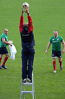 Ken Owens throws to assistant coach Steve Borthwick as Rory Best(left) looks on during the 2017 DHL Lions Series rugby union  British & Irish Lions captain's run at QBE Stadium in Albany New Zealand on Tuesday, 6 June 2017. Photo: Dave Lintott / lintottphoto.co.nz