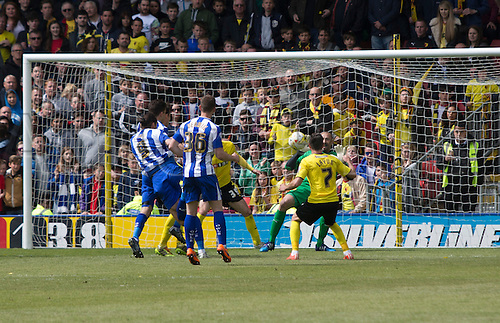 02.05.2015.  Watford, England. Skybet Championship. Watford versus Sheffield Wednesday. Sheffield Wednesday's Atdhe Nuhiu turns the ball into the net for a last minute equaliser to deny Watford the title.