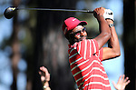 Former NFL player Jerry Rice watches a tee shot in the final round of the American Century Championship at Edgewood Tahoe Golf Course in Stateline, Nev., on Sunday, July 19, 2015. <br /> Photo by Cathleen Allison