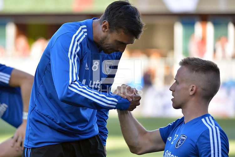 San Jose, CA - Wednesday June 13, 2018: Chris Wondolowski, Tommy Thompson prior to a Major League Soccer (MLS) match between the San Jose Earthquakes and the New England Revolution at Avaya Stadium.