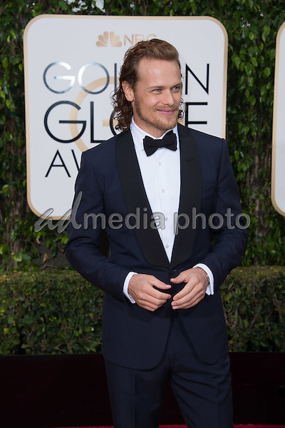 "Sam Heughan, actor from the Golden Globe nominated series ""Outlander"" (STARZ), arrives at the 73rd Annual Golden Globe Awards at the Beverly Hilton in Beverly Hills, CA on Sunday, January 10, 2016. Photo Credit: HFPA/AdMedia"