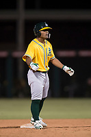 AZL Athletics third baseman Cobie Vance (16) stands on second base during an Arizona League game against the AZL Angels at Tempe Diablo Stadium on June 26, 2018 in Tempe, Arizona. The AZL Athletics defeated the AZL Angels 7-1. (Zachary Lucy/Four Seam Images)