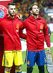 Spain's David De Gea (l) and Sergio Ramos during FIFA World Cup 2018 Qualifying Round match. March 24,2017.(ALTERPHOTOS/Acero)