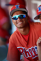 Philadelphia Phillies Luis Matos (25) in the dugout during a Florida Instructional League game against the Toronto Blue Jays on September 24, 2018 at Spectrum Field in Clearwater, Florida.  (Mike Janes/Four Seam Images)
