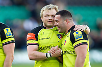Luke Hamilton of Leicester Tigers with team-mate Ellis Genge after the match. Aviva Premiership match, between Northampton Saints and Leicester Tigers on March 25, 2017 at Franklin's Gardens in Northampton, England. Photo by: Patrick Khachfe / JMP