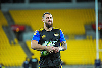 Blade Thomson warms up for the Super Rugby match between the Hurricanes and Sharks at Westpac Stadium, Wellington, New Zealand on Saturday, 9 May 2015. Photo: Dave Lintott / lintottphoto.co.nz