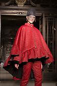 15 February 2014, London, England, UK. A model walks the runway at the Ashley Isham show during London Fashion Week AW14 at Fashion Scout/Freemasons' Hall. Photo credit: Bettina Strenske/LNP