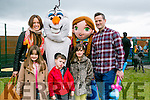 l-r  Siobhan Cusson, Isabel Cusson, Ethan Cusson, Jocelyn Cusson and Mark Cusson with Olaf  and Anna at the Tralee Bay Wetlands Easter Family Fun Day on Monday