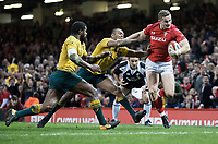 Wales' Hallam Amos breaks the tackle of Australia's Kurtley Beale<br /> <br /> Photographer Simon King/CameraSport<br /> <br /> International Rugby Union - 2017 Under Armour Series Autumn Internationals - Wales v Australia - Saturday 11th November 2017 - Principality Stadium - Cardiff<br /> <br /> World Copyright &copy; 2017 CameraSport. All rights reserved. 43 Linden Ave. Countesthorpe. Leicester. England. LE8 5PG - Tel: +44 (0) 116 277 4147 - admin@camerasport.com - www.camerasport.com