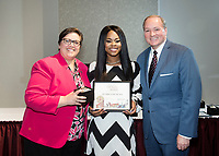 Spirit of State Awards ceremony. Vice President of Student Affairs Regina Hyatt and MSU President Mark Keenum with Ze'Erica Duncan. <br />  (photo by Megan Bean / &copy; Mississippi State University)