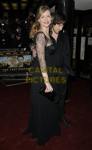 ANNE MARIE DUFF & JAMES McAVOY .The UK Premiere of 'The Last Station' at The Curzon Mayfair Cinema, London, England..January 26th 2010.full length black jacket dress lace clutch bag married husband wife beard facial hair maxi suit side looking down.CAP/CAN.©Can Nguyen/Capital Pictures.