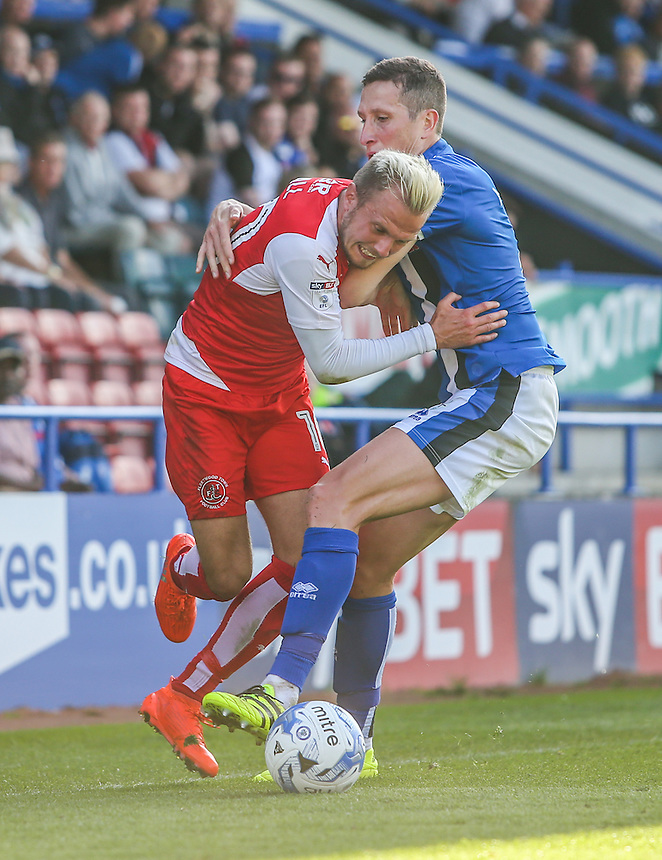 Fleetwood Town's David Ball gets up close and personal with Rochdale's Jim McNulty<br /> <br /> Photographer Alex Dodd/CameraSport<br /> <br /> The EFL Sky Bet League One - Rochdale v Fleetwood Town - Saturday 17th September 2016 - Spotland - Rochdale<br /> <br /> World Copyright &copy; 2016 CameraSport. All rights reserved. 43 Linden Ave. Countesthorpe. Leicester. England. LE8 5PG - Tel: +44 (0) 116 277 4147 - admin@camerasport.com - www.camerasport.com