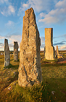 Monolith of Calanais Neolithic Standing Stone (Tursachan Chalanais) , Isle of Lewis, Outer Hebrides, Scotland.