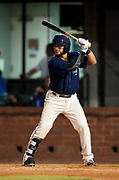 Mobile BayBears catcher Francisco Arcia (32) at bat during a game against the Pensacola Blue Wahoos on April 25, 2017 at Hank Aaron Stadium in Mobile, Alabama.  Mobile defeated Pensacola 3-0.  (Mike Janes/Four Seam Images)