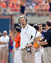 September 18 - Champaign, Illinois, USA -  Illinois Coach Ron Zook expresses doubt about a officiating decision in the game between the University of Illinois Fighting Illini and the Northern Illinois University Huskies at Memorial Stadium.  The Illini defeated the Huskies 28 to 22.