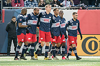 FOXBOROUGH, MA - MARCH 7: New England players celebrate their goal against Chicago during a game between Chicago Fire and New England Revolution at Gillette Stadium on March 7, 2020 in Foxborough, Massachusetts.