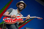 Gary Clark Jr. performs during the New Orleans Jazz & Heritage Festival in New Orleans, LA.