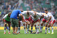 Harlequins practice their scrummaging before the Premiership Rugby Round 1 match between London Irish and Harlequins at Twickenham Stadium on Saturday 6th September 2014 (Photo by Rob Munro)