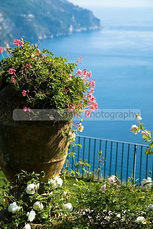 Garden detail with ocean view, Villa Rondinaia, Ravello, Italy
