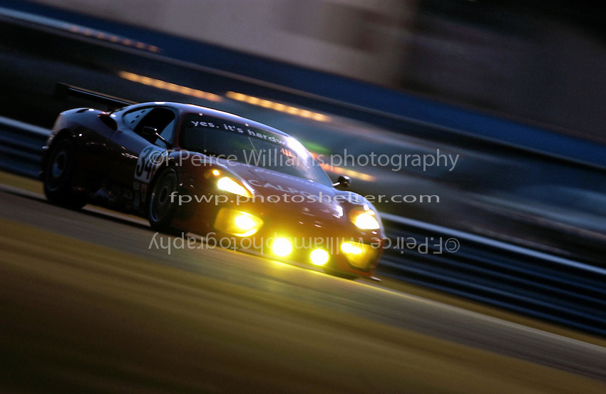 .The #34 Ferri Competizione Ferrari 360 GT Modona sppeds through the night (practice)...
