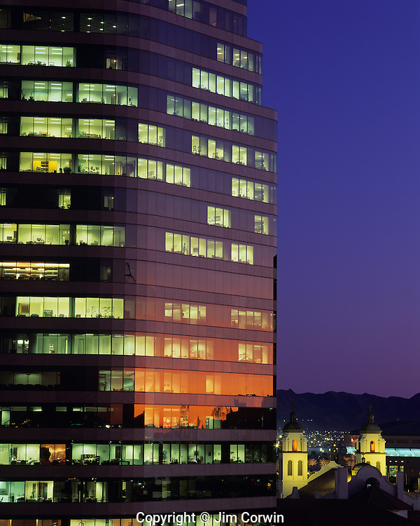 Downtown office building with Saint Mary's Basilica at sunset with city lights, Phoenix, Arizona State USA