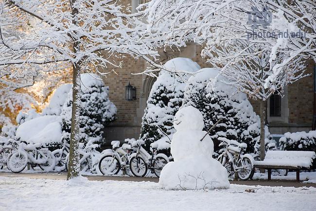 Snowman outside Alumni Hall