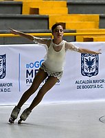 BOGOTÁ - COLOMBIA, 04-09-2018: Josefina Delgado, deportista de Argentina, durante prueba de Programa Corto, Juvenil Damas en Linea, en el Campeonato Panamericano Patinaje Artístico, en el Coliseo El Salitre de la Ciudad de Bogotá. / Josefina Delgado, sportwoman from Argentina, during the Short Program Junior Ladies test, in the Panamerican Figure Skating Championship the El salitre Coliseum in Bogota City. Photo: VizzorImage / Luis Ramirez / Staff.
