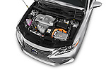 Car Stock 2018 Lexus ES 300h 4 Door Sedan Engine  high angle detail view