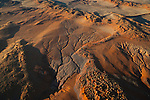 Namibia, Namib Desert, aerial of eastern edge of Namib Desert, sand dunes covered with vegetation