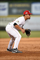 Tri-City ValleyCats third baseman Nick Tanielu (30) during a game against the Batavia Muckdogs on August 2, 2014 at Joseph L. Bruno Stadium in Troy, New  York.  Tri-City defeated Batavia 8-4.  (Mike Janes/Four Seam Images)