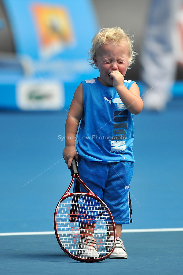 MELBOURNE, 16 JANUARY - Lleyton Hewitt's son Cruz at the Rally For Relief charity exhibition match by top players of the 2011 Australian Open at Melbourne Park. (Photo Sydney Low / syd-low.com)