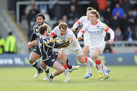 20130310 Copyright onEdition 2013©.Free for editorial use image, please credit: onEdition..Chris Wyles of Saracens is tackled by Danny Cipriani of Sale Sharks during the LV= Cup semi final match between Sale Sharks and Saracens at the Salford City Stadium on Sunday 10th March 2013 (Photo by Rob Munro)..For press contacts contact: Sam Feasey at brandRapport on M: +44 (0)7717 757114 E: SFeasey@brand-rapport.com..If you require a higher resolution image or you have any other onEdition photographic enquiries, please contact onEdition on 0845 900 2 900 or email info@onEdition.com.This image is copyright onEdition 2013©..This image has been supplied by onEdition and must be credited onEdition. The author is asserting his full Moral rights in relation to the publication of this image. Rights for onward transmission of any image or file is not granted or implied. Changing or deleting Copyright information is illegal as specified in the Copyright, Design and Patents Act 1988. If you are in any way unsure of your right to publish this image please contact onEdition on 0845 900 2 900 or email info@onEdition.com