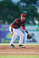 Batavia Muckdogs third baseman Tyler Curtis (11) during a game against the West Virginia Black Bears on June 26, 2017 at Dwyer Stadium in Batavia, New York.  Batavia defeated West Virginia 1-0 in ten innings.  (Mike Janes/Four Seam Images)