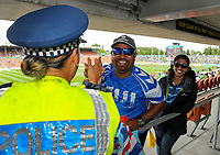 Police with fans. Day one of the 2018 HSBC World Sevens Series Hamilton at FMG Stadium in Hamilton, New Zealand on Saturday, 3 February 2018. Photo: Dave Lintott / lintottphoto.co.nz