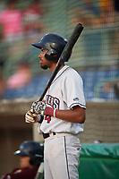 Mahoning Valley Scrappers Michael Cooper (4) on deck during a NY-Penn League game against the Hudson Valley Renegades on July 15, 2019 at Eastwood Field in Niles, Ohio.  Mahoning Valley defeated Hudson Valley 6-5.  (Mike Janes/Four Seam Images)