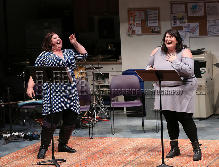 """Ashlie Atkinson and Nicole Spiezio """"Three Fat Sisters"""" during the 2018 Presentation of New Works by the DGF Fellows on October 15, 2018 at the Playwrights Horizons Theatre in New York City."""