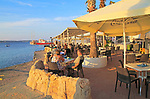 Waterfront cafe restaurant Mellieha Bay resort , Marfa peninsula, Malta
