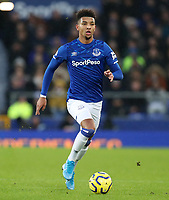 26th December 2019; Goodison Park, Liverpool, Merseyside, England; English Premier League Football, Everton versus Burnley; Mason Holgate of Everton controls the ball  - Strictly Editorial Use Only. No use with unauthorized audio, video, data, fixture lists, club/league logos or 'live' services. Online in-match use limited to 120 images, no video emulation. No use in betting, games or single club/league/player publications